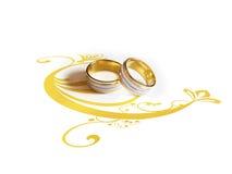 Anelli di cerimonia nuziale con l'illustrazione decorativa Fotografie Stock