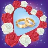 Anelli di cerimonia nuziale con le rose bianche e rosse Immagini Stock