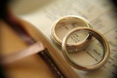 Anelli di cerimonia nuziale dell'oro bianco sulla bibbia Fotografie Stock