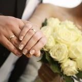 Anelli di cerimonia nuziale dello sposo e della sposa Fotografia Stock Libera da Diritti