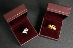 Anelli di cerimonia nuziale Regalo dei monili Fotografia Stock Libera da Diritti