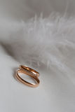 Anelli di cerimonia nuziale su bianco Fotografia Stock