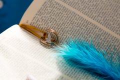 Anelli di cerimonia nuziale su una bibbia Fotografie Stock Libere da Diritti