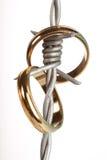 Anelli di cerimonia nuziale sul collegare della sbavatura Fotografia Stock