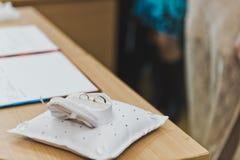 Anelli di cerimonia nuziale sul cuscino Immagini Stock Libere da Diritti