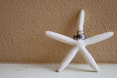Anelli di cerimonia nuziale sulle stelle marine Fotografie Stock Libere da Diritti