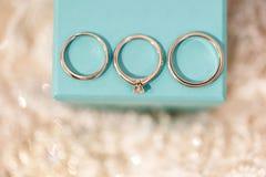 Anelli di cerimonia nuziale di Tre L'anello di fidanzamento, l'anello nuziale e lo sposo suonano sulla scatola Fotografia Stock Libera da Diritti