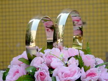 Anelli di cerimonie nuziali Fotografie Stock