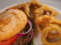 Anelli di cipolla e dell'hamburger Fotografie Stock Libere da Diritti