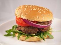 Anelli di cipolla e dell'hamburger Immagine Stock Libera da Diritti