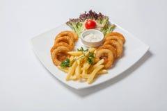 Anelli di cipolla e patate fritte avariati con salsa Fotografie Stock Libere da Diritti