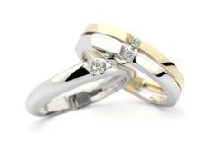 Anelli di diamante dell'oro Immagine Stock
