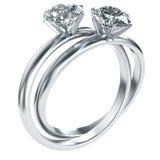 Anelli di diamante intrecciati Fotografia Stock Libera da Diritti