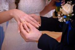 Anelli di scambio delle persone appena sposate immagini stock libere da diritti