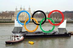 Anelli olimpici Fotografie Stock