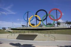 Anelli olimpici Rio 2016 Fotografie Stock Libere da Diritti