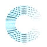 Anello astratto dei punti blu Effetto di semitono con la pendenza Fondo di vettore di progettazione moderna Fotografie Stock Libere da Diritti