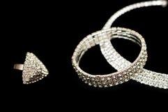 Anello, braccialetto e collana Fotografia Stock
