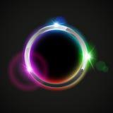 Anello brillante del metallo del cromo con effetto della luce colorato Fotografia Stock Libera da Diritti