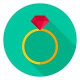 Anello con Diamond Circle Icon Fotografia Stock