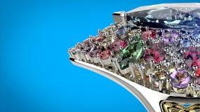 Anello con il diamante differente di colore Fondo dei gioielli di modo Immagini Stock