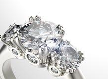 Anello con il diamante Fondo dei gioielli di modo Fotografie Stock Libere da Diritti