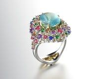 Anello con il diamante Fondo dei gioielli di modo fotografia stock libera da diritti