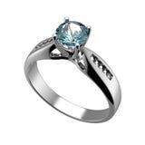 Anello con il diamante isolato. Topazio blu svizzero. acquamarina. Grandi Fotografia Stock