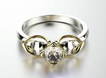 Anello con il diamante Priorità bassa nera dei monili del tessuto dell'argento e dell'oro Immagine Stock Libera da Diritti