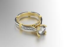 Anello con il diamante Priorità bassa nera dei monili del tessuto dell'argento e dell'oro fotografia stock