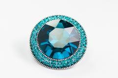 Anello con la gemma blu Fotografia Stock