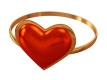 Anello con un cuore rosso Fotografia Stock