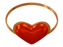 Anello con un cuore rosso Immagini Stock Libere da Diritti