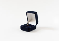 Anello d'annata del diamante in una scatola attuale Gioielli del ` s della donna Fotografia Stock