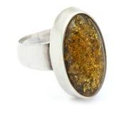 Anello d'argento con ambra Immagine Stock