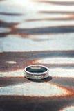 Anello d'argento martellato Fotografia Stock