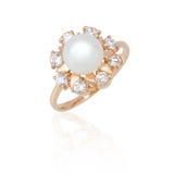 Anello dei monili con la perla ed i diamanti Immagine Stock
