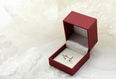 Anello del anello-diamante di nozze Fotografie Stock