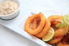 Anello del calamaro croccante Fotografie Stock