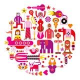 Anello del circo - illustrazione rotonda di vettore royalty illustrazione gratis