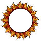 Anello del telaio circolare del fuoco isolato su fondo bianco, illustrazione di vettore Fotografie Stock Libere da Diritti