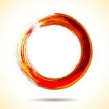 Anello dell'acquerello dipinto spazzola rossa Immagine Stock Libera da Diritti