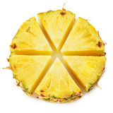 Anello dell'ananas Pezzi della frutta isolati su bianco fotografia stock