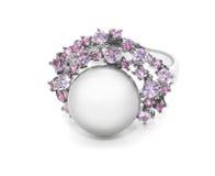 Anello della perla con le pietre colorate Fotografie Stock