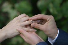 Anello della sposa Fotografia Stock