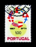 Anello delle bandiere della E f T a Paesi, istituzione di T libero Fotografia Stock