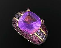 Anello di cerimonia nuziale con il diamante Priorità bassa nera dei monili del tessuto dell'argento e dell'oro Immagini Stock Libere da Diritti