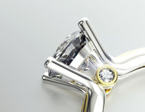Anello di cerimonia nuziale con il diamante Priorità bassa nera dei monili del tessuto dell'argento e dell'oro Fotografie Stock Libere da Diritti