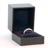 Anello di cerimonia nuziale degli uomini (oro bianco o platino) Fotografia Stock