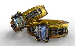Anello di cerimonia nuziale del diamante dell'oro Fotografia Stock Libera da Diritti